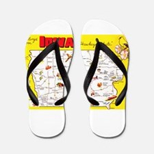 Iowa Map Greetings Flip Flops