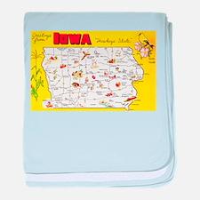 Iowa Map Greetings baby blanket