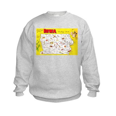 Iowa Map Greetings Kids Sweatshirt