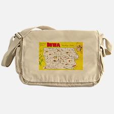 Iowa Map Greetings Messenger Bag
