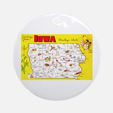 Iowa Map Greetings Ornament (Round)