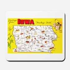 Iowa Map Greetings Mousepad