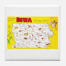Iowa Map Greetings Tile Coaster