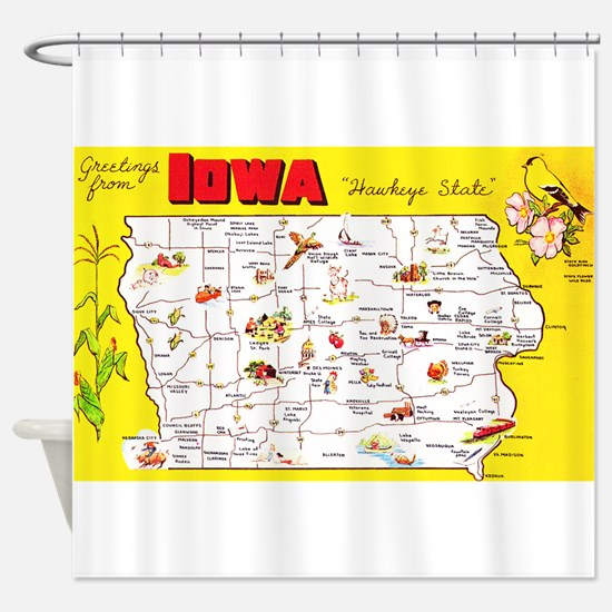 Iowa Map Greetings Shower Curtain