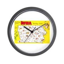 Iowa Map Greetings Wall Clock