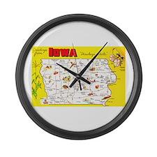 Iowa Map Greetings Large Wall Clock
