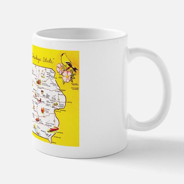 Iowa Map Greetings Mug