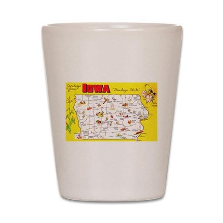 Iowa Map Greetings Shot Glass