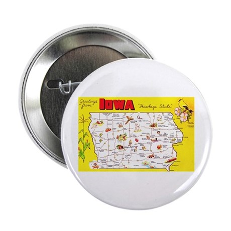 "Iowa Map Greetings 2.25"" Button (10 pack)"