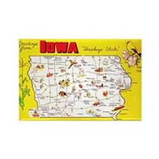 Iowa Map Greetings Rectangle Magnet