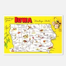 Iowa Map Greetings Postcards (Package of 8)
