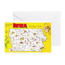 Iowa Map Greetings Greeting Card