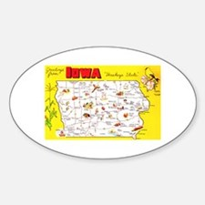 Iowa Map Greetings Stickers