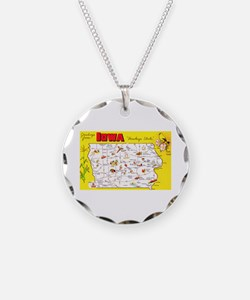 Iowa Map Greetings Necklace