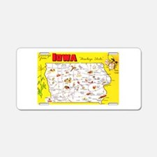 Iowa Map Greetings Aluminum License Plate