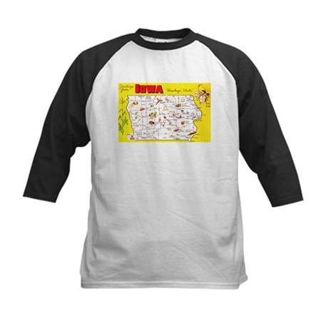 Iowa Map Greetings Kids Baseball Jersey