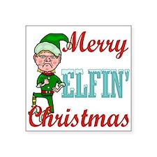 """Funny Elfin Christmas Square Sticker 3"""" x 3"""""""