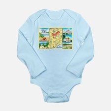 Indiana Map Greetings Long Sleeve Infant Bodysuit