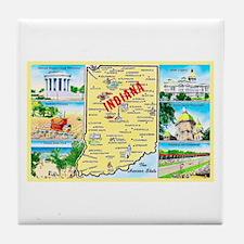 Indiana Map Greetings Tile Coaster