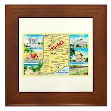 Indiana Map Greetings Framed Tile