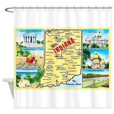 Indiana Map Greetings Shower Curtain