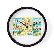 Indiana Map Greetings Wall Clock