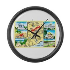 Indiana Map Greetings Large Wall Clock