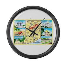 Indiana Map Greetings Large Wall Clock