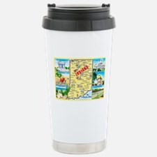 Indiana Map Greetings Stainless Steel Travel Mug