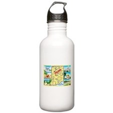 Indiana Map Greetings Water Bottle