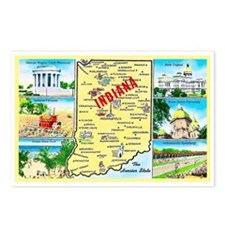 Indiana Map Greetings Postcards (Package of 8)