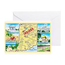Indiana Map Greetings Greeting Card