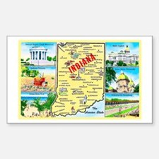 Indiana Map Greetings Sticker (Rectangle)