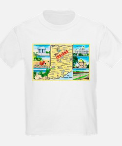 Indiana Map Greetings T-Shirt
