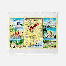 Indiana Map Greetings Throw Blanket
