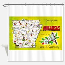 Arkansas Map Greetings Shower Curtain