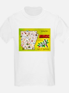Arkansas Map Greetings T-Shirt