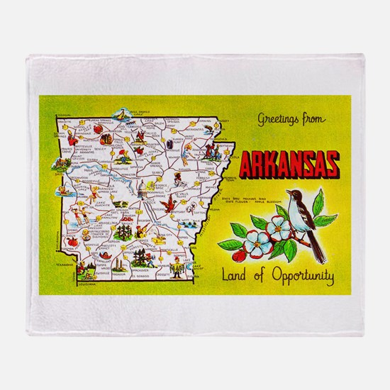 Arkansas Map Greetings Throw Blanket
