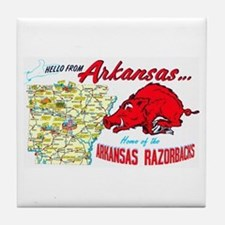 Arkansas Map Greetings Tile Coaster