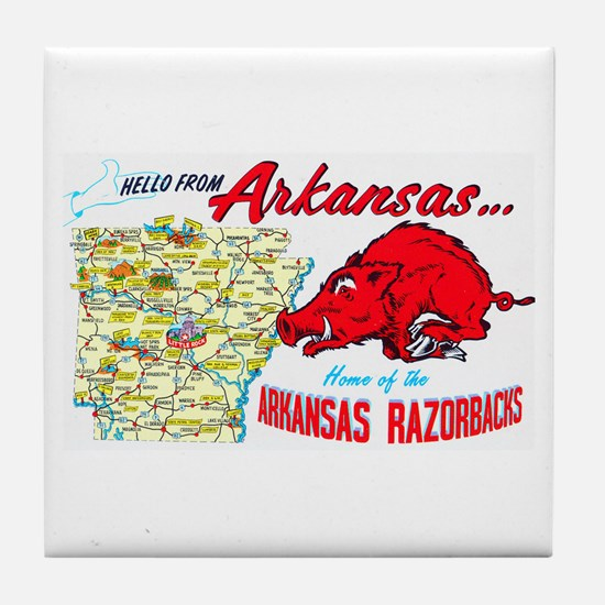 Arkansas Map Greetings Tile Coaster