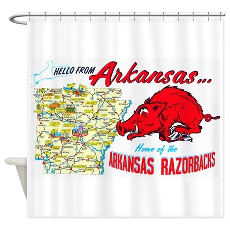 Arkansas Map Greetings Shower Curtain