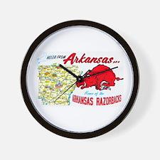 Arkansas Map Greetings Wall Clock