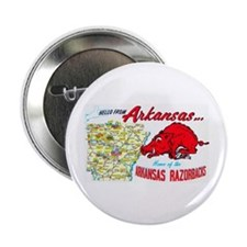 "Arkansas Map Greetings 2.25"" Button"