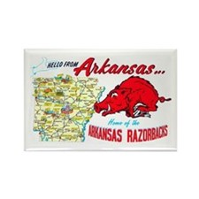 Arkansas Map Greetings Rectangle Magnet