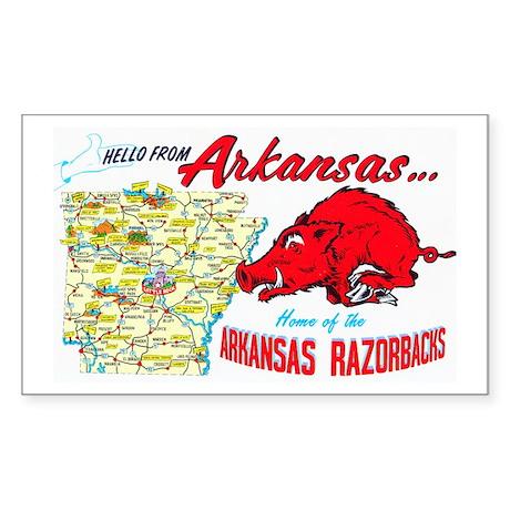 Arkansas Map Greetings Sticker (Rectangle)