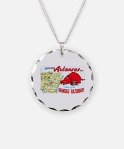 Arkansas Map Greetings Necklace