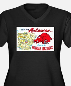 Arkansas Map Greetings Women's Plus Size V-Neck Da