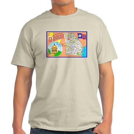 Georgia Map Greetings Light T-Shirt
