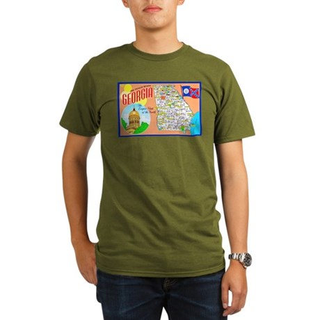 Georgia Map Greetings Organic Men's T-Shirt (dark)