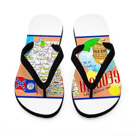 Georgia Map Greetings Flip Flops